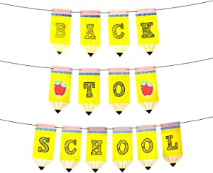 Large Back To School Banner for Back To School Decorations - 9.8 Feet Yellow Creative Pencil Banner | Teacher Classroom Decorations | First Day of School Banner Sign | Back to School Party Decorations