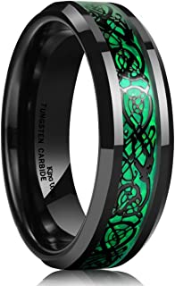 Dragon Men's 5mm/8mm Green Carbon Fiber Black Celtic Dragon Tungsten Carbide Ring