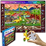 """Think2Master 100 Pieces Dinosaurs Jigsaw Puzzle Fun Colorful Educational Toy for Kids, School & Families. Great Gift for Boys & Girls Ages 4-8 to Stimulate Learning. Size:23.4"""" X 16.5"""""""
