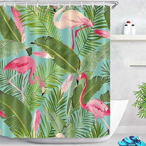 LB Duschvorhang Grün Blätter 150x180cm Rosa Flamingo Tropisch Bad Vorhang mit Haken,Urwald Wald Pflanze Polyester Stoff Antischimmel Wasserdicht Badezimmer Gardinen