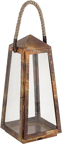 popular ELK lowest Lighting 401732 Lantern, 2021 Burned Copper, Natural, Clear sale