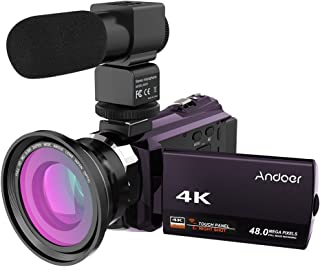 Andoer 4K 1080P 48MP WiFi Digital Video Camera Camcorder Recorder with 0.39X Wide Angle Macro Lens 3inch Capacitive Touchs...