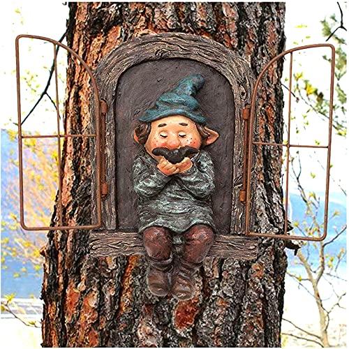 Elf out The Door Tree Hugger, Garden GNOME Statue Tree Faces Decor Outdoor, Naughty Garden Peeker Yard Art, Patio Yard Césped Porche Adorno Regalo