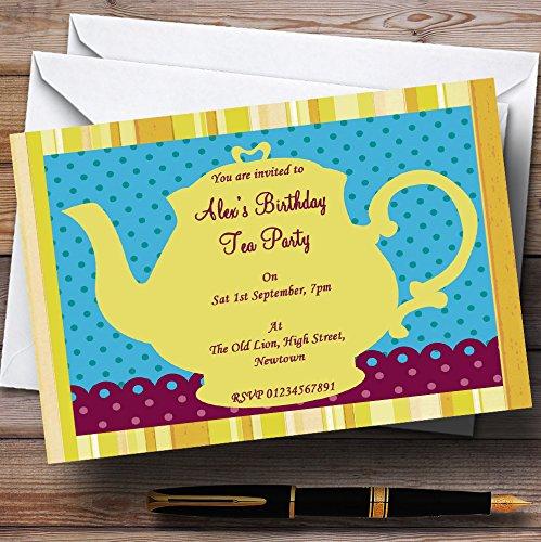 10 x Uitnodigingen Grote Gele Theepot Vintage Thee Thema Gepersonaliseerde Verjaardagsfeest nodigt elke bewoording uit