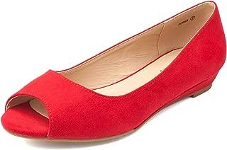 DREAM PAIRS Women's Dories Flats Shoes Low Wedge Heel Peep Toe