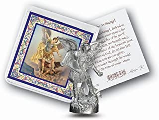 St Michael Mini Saint Gift Set Tiny 1 Inch Long Statue & Prayer Card
