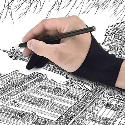 2pcs / Set Free Size Negro Tableta De Dibujo Antiincrustantes Guante Artista De Dos Dedos del Guante para La Tableta Gráfica, Creación del Arte del Lápiz Ajuste para La Mano Derecha O Izquierda