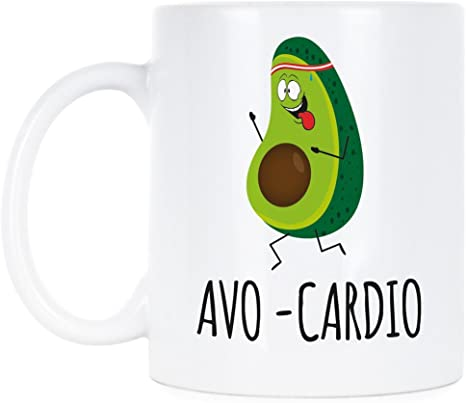 Amazon Com Avo Cardio Mug Avocado Coffee Mugs Cute Avocado Lover Gift Funny Avo Cardio Kitchen Dining