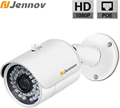 POE Security IP Camera,Jennov 1080P Bullet Surveillance Camera with 3.6mm Lens Night Vision Free Remote View App Motion Detection IP66 Weatherproof Outdoor & Indoor