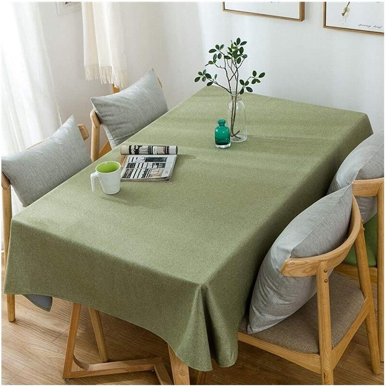 Qqzmd 12345 Tovaglia Tovaglia Rettangolare Tovaglia Antipolvere Tavolino Tovaglia Impermeabile Cotone Coloreee Solido verde 5436 (Dimensione   135cm200cm)