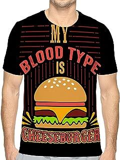 Men's Cotton T-Shirt Food Drink Quote Saying Good Print My Blood Type Cheeseburger