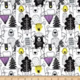 Mook Fabrics Bear Forest Flannel Allover Fabric, White, Fabric By The Yard