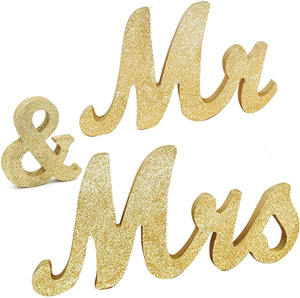 Awtlife 30 X 6 Gold Glitter Mr And Mrs Letters For Vintage Wedding Decoration Table Decor Vintage Style Wooden Mr Mrs Letters Table