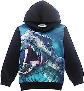 CM-Kid Little Boys Dinosaur Hooded Jacket Cartoon Pullover Kids Sweatshirts Hoodies for Toddler
