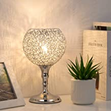HAITRAL Nightstand Table Lamp - Modern Bedside Lamp, Elegant Desk Lamp Home Décor with Spherical Metal Wiring Lamp Shade for Bedroom, Living Room, Guest Room, Office, College Dorm -Silver