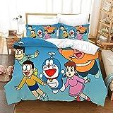 BFSOC Juego de Cama - Doraemon Azul - de 3 Piezas con Funda de Edredón 3D (3 Piezas, Funda Nórdica + 2 Fundas de Almohada),Micro Fibra Super Suave 140 X 200 cm