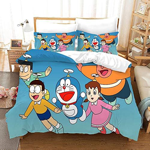 3D Bedding Set Copripiumino - Doraemon Blu - 3D Stampa in Microfibra Bohemian Bedding Comforter Copre Matrimoniale, con Chiusura a Cerniera e 2 Federe 200 X 200 cm