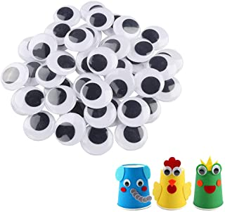 200pcs 25mm/1 inch Wiggle Googly Eyes with Self-Adhesive Round Black & White Eyes for DIY Arts Craft Supplies Party Decora...