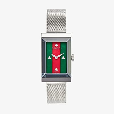 Gucci Steel Case Dial with Bees Indexes, Interchangeable Steel Mesh Bracelet (Silver/Green/Red) Watches