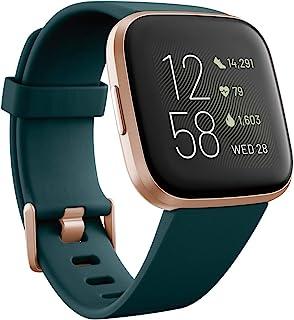 Fitbit FB507RGPE Versa 2 Premium Health and Fitness Smartwatch, Emerald/Copper Rose