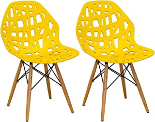 Ergo Furnishings Puzzle Hollow Out Molded Plastic Dining Chair Side Wood Legs Set of 2, Yellow