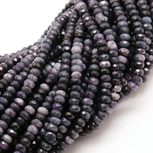 Perlin - Piedras preciosas de ágata, perlas de 4 mm, color negro antracita, 30 unidades, redondas, facetadas, piedras preciosas para manualidades