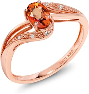 10K Rose Gold Orange Sapphire and White Diamond Engagement Bypass Ring 0.59 Ct Oval (Available 5,6,7,8,9)