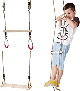 IFOYO Wooden Climbing Rope Ladder for Kids, Wooden Trapeze Bar with Rings, Wooden Swing Set for Tree Outside Backyard