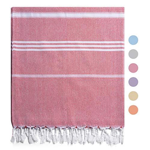 CABANANA Classic Cotton Turkish Towels - 40 x 72 Inch Large Prewashed Cabana Peshtemal Beach Towels, Soft Absorbent Portable Light Weight Hammam Towels (Peachy)