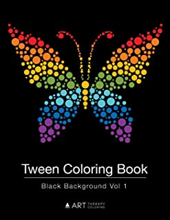 Tween Coloring Book: Black Background Vol 1: Colouring Book for Teenagers, Young Adults, Boys, Girls, Ages 9-12, 13-16, Cute Arts & Craft Gift, Detailed Designs for Relaxation & Mindfulness
