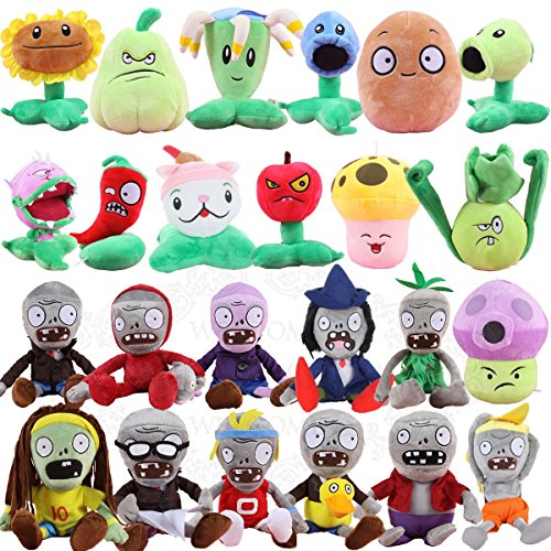 TavasHome 24 Pieces Plants VS Zombies 2 PVZ Figures Plush Toys Set,Lovely Stuffed Soft Game Doll Funny Gift,Bonus w/ PVC Kernel-Pult