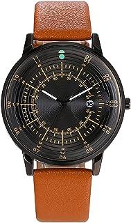 LFK Men's/Women's Belt Calendar Watch/Watch Simple Personality Surface Casual Fashion Trend Quartz Watch Dating (Color : Brown)