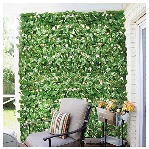 ECOOPTS Artificial Laurel Leaf Expandable/Stretchable Privacy Fence Screen, Single Side Leafs and Vine Decoration for Outdoor, Garden, Yard 1 Pack