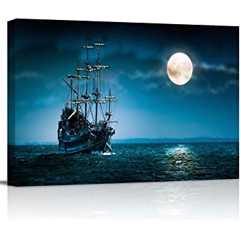 """Canvas Wall Art - Night Ship Sea Navigation Moon Pictures - Modern Wall Decor Gallery Canvas Wraps Giclee Print Stretched and Framed Ready to Hang - 12"""" x 16"""""""