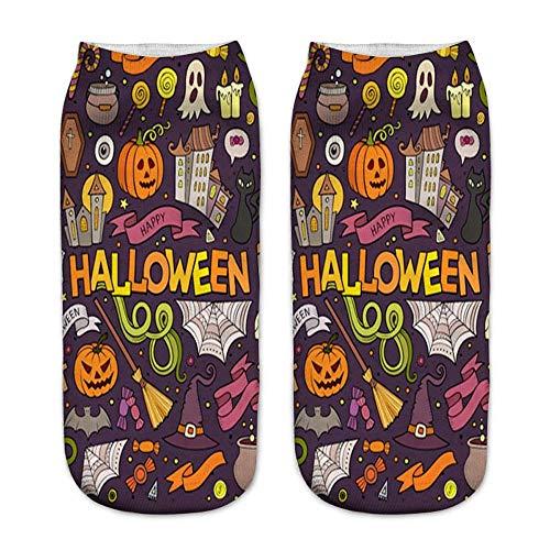 MERICAL Casual 3D Halloween Socken Damen Kürbis Druck Medium Sportsocken (Freie Größe, Bunt-B)
