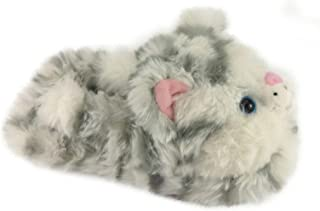 Image of Furry Striped Cat Slippers for Toddler Girls
