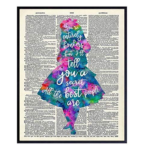 Alice in Wonderland A.A. Milne Quote Dictionary Wall Art Decor - Funny 8x10 Home Decoration Picture for Kids, Girls Room, Bedroom, Office - Gift for Walt Disney World Fans - Watercolor Poster Print