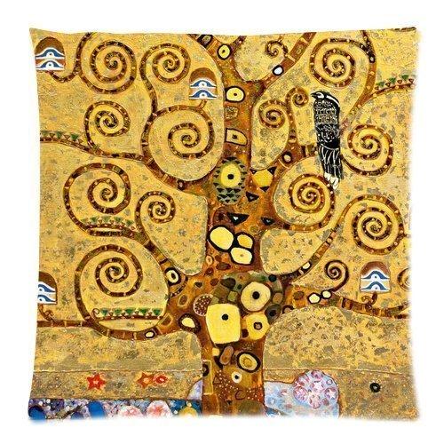 """Federa quadrata per cuscino con riproduzione del quadro del pittore Gustav Klimt """"L'albero della vita"""", con cerniera, dimensioni: 46 x 46 cm"""