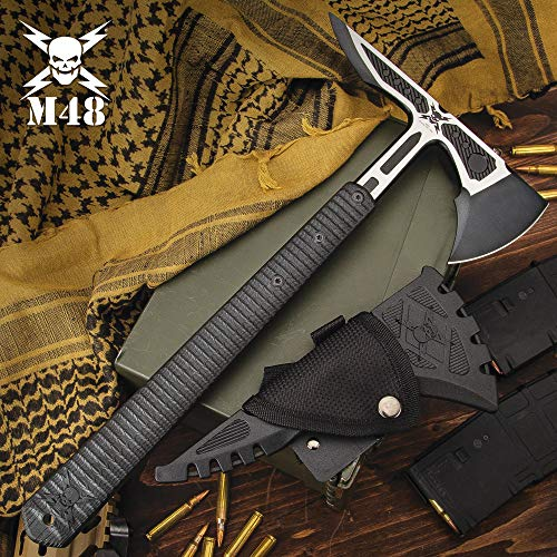 """M48 Liberator Infantry Tomahawk with Sheath - Cast Stainless Steel Head, Black Oxide Coating, Injection Molded Nylon Handle - Length 15 3/4"""""""