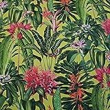 Stoff Meterware Baumwolle grün Blumen Blätter Motte