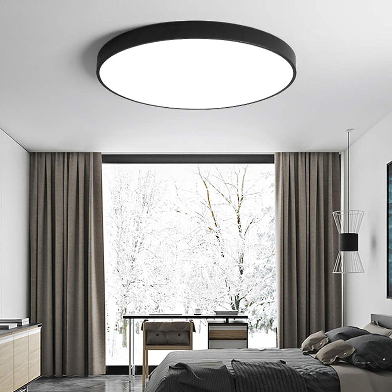 FuweiEncore Ultra-Thin Flush Mount Led Deckenleuchte, Runde Acryl-Sauglicht Wohnzimmer-Flur Küche-30x30cm Schwarz-Wei-Licht (Farbe   30x30cm, Gre   schwarz-TriFarbe Light)