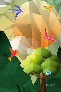 Notebook: Bird And Wild Geometric Polygon Cover 6x9