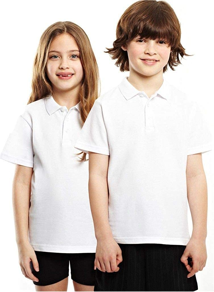Girls School Cotton Polo Shirts Pack of 2 WHITE  3,4,5,6,7,8,9,10,11,12,13 NEW
