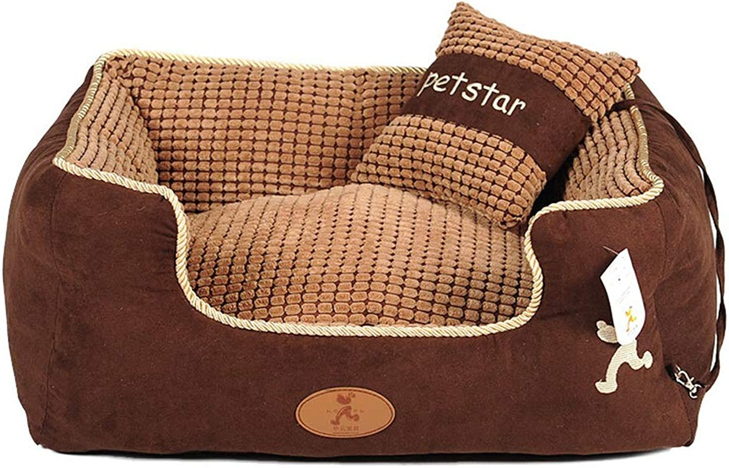 Kennel Teddy Removable and Washable golden Hair Soft and Comfortable Pet Cat Litter Samoyed Small Dog Autumn and Winter Warm Dog Bed (color   Brown, Size   L)