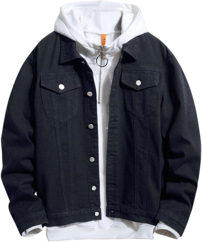 Realdo Mens Men's Casual Denim Jacket Coat Fashion Printed Slim Fit Stretch Button Down Distressed Jean Trucker Jackets