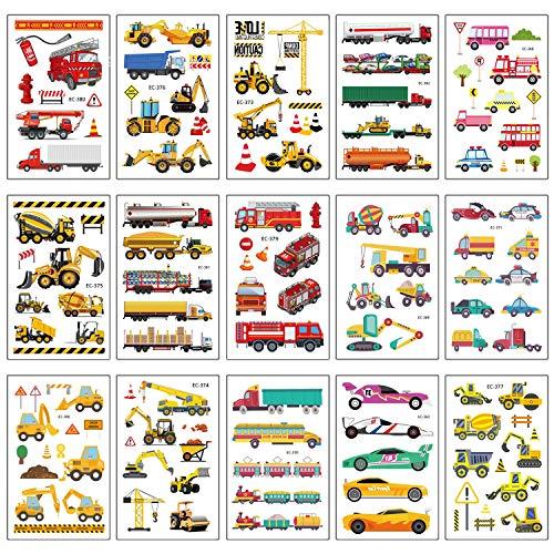 SZSMART Temporäre Tattoos Set, Kindertattoos Fahrzeuge Aufkleber für Kinder Spielen Mädchen Jungen Kindergeburtstag Mitgebsel, Bagger Auto Feuerwehrauto