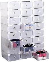 Homgrace 24 Cajas para Zapatos Transparente Plástico, Caja Guardar Zapatos, Calcetines, Juguetes, Cinturones para la organización de su hogar, Oficina