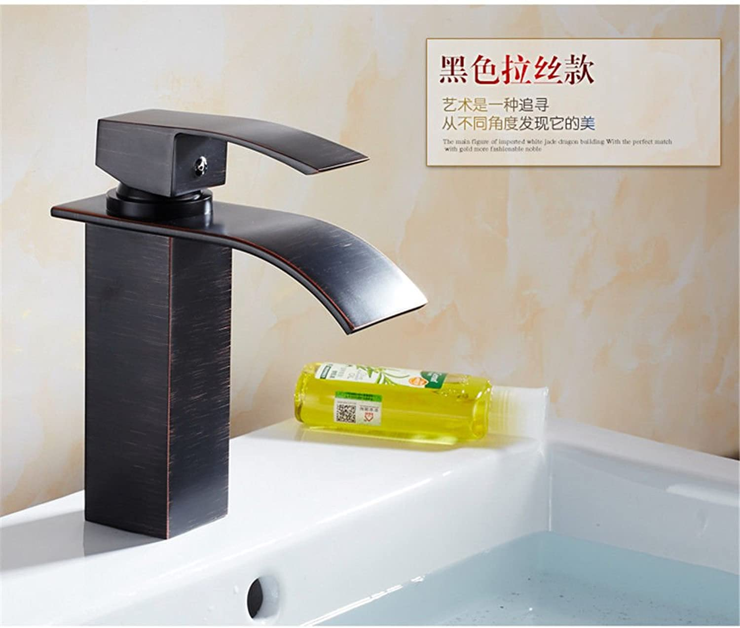 Lalaky Taps Faucet Kitchen Mixer Sink Waterfall Bathroom Mixer Basin Mixer Tap for Kitchen Bathroom and Washroom Copper Hot and Cold Jade golden Waterfall