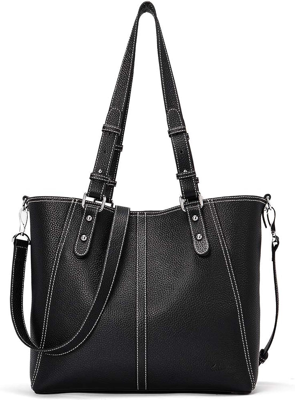 CLUCI Handbags for Women Genuine Leather Designer Purse Fashion Hobo Tote Large Shoulder Bag Black