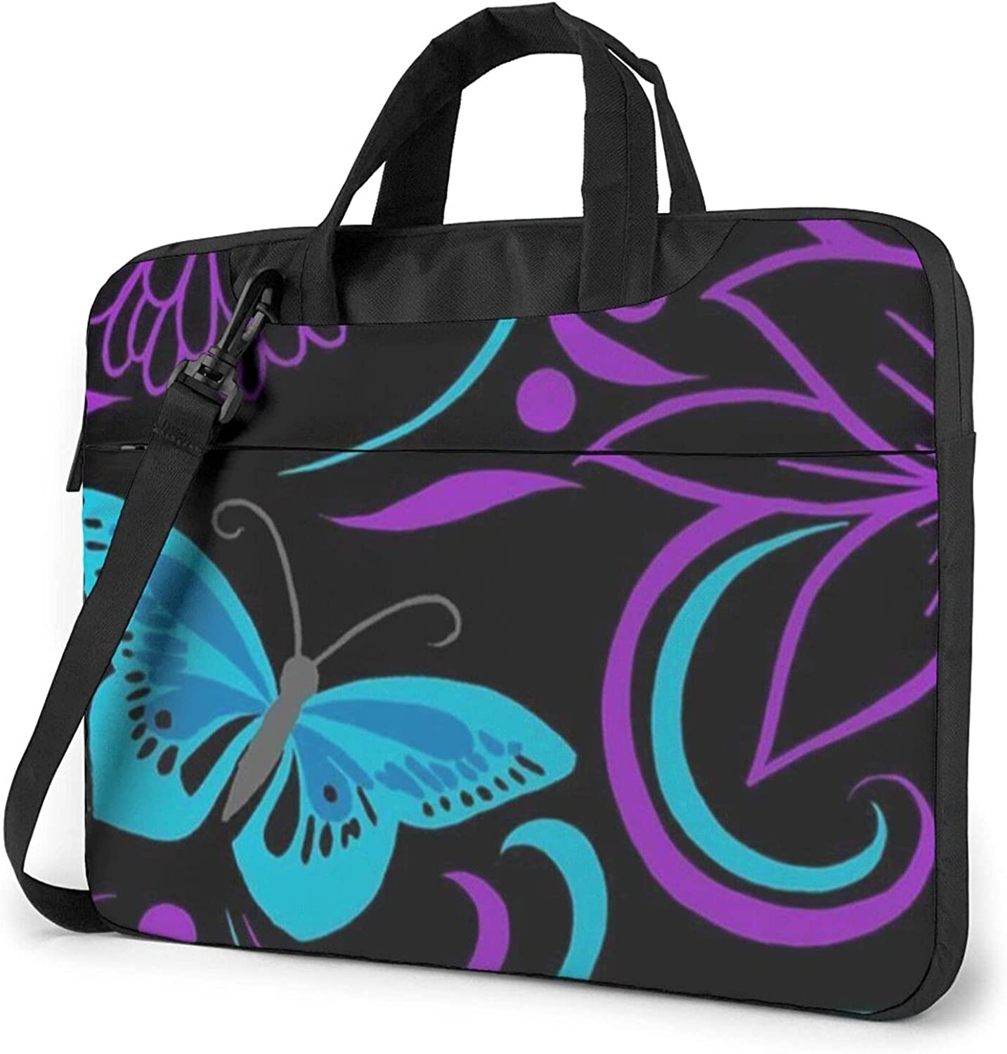 Purple Austin Mall Butterfly And Manufacturer direct delivery Flowers Laptop Mess Bag Shoulder Waterproof